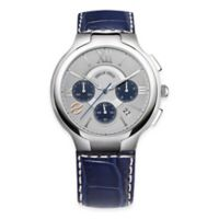 Philip Stein Men's 45mm Round Chronograph Watch in Stainless Steel with Blue Strap