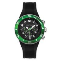 Philip Stein Men's 46mm Active Extreme Chronograph Watch in Black Stainless Steel with Green Bezel