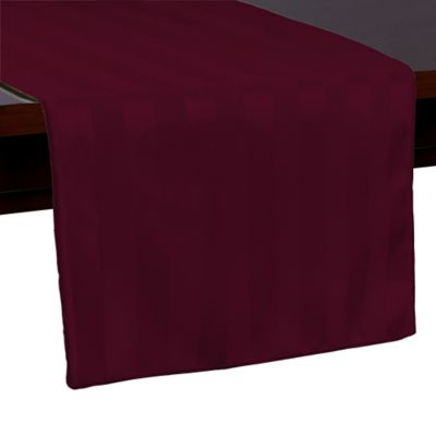 Poly Stripe 72 Inch Table Runner In Burgundy