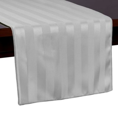 Poly Stripe 54 Inch Table Runner In Grey