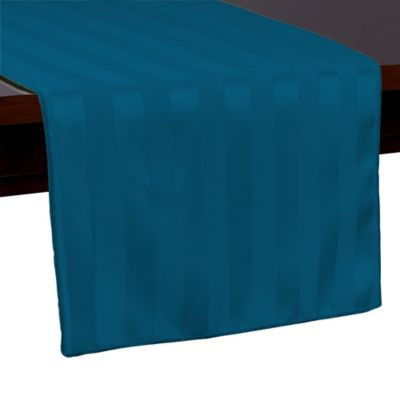 Poly Stripe 54 Inch Table Runner In Blue Lagoon