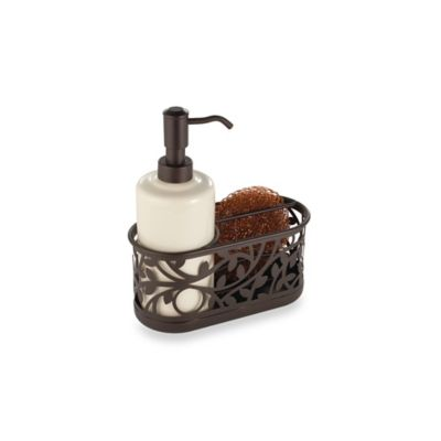 InterDesign® Vine Kitchen Sink Soap Dispenser Pump And Sponge Caddy In  Bronze