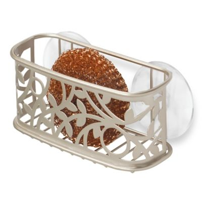 interdesign vine kitchen sink suction sponge holder in satin - Kitchen Sponge Holder