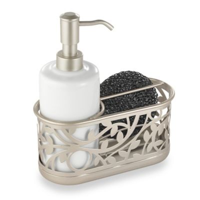 Interdesign Vine Kitchen Sink Soap Dispenser Pump And Sponge Caddy In Satin