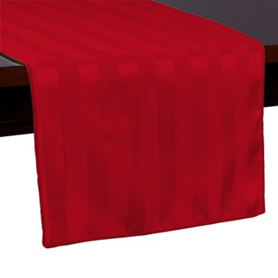Poly Stripe 54 Inch Table Runner In Red