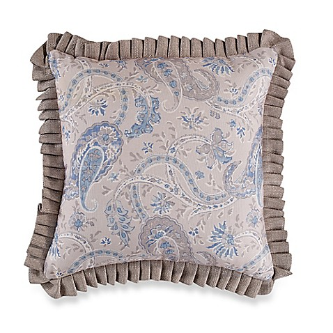 Blue Ruffle Throw Pillow : Sherry Kline Serenity Pleated Ruffle Square Throw Pillow in Beige/Blue - Bed Bath & Beyond