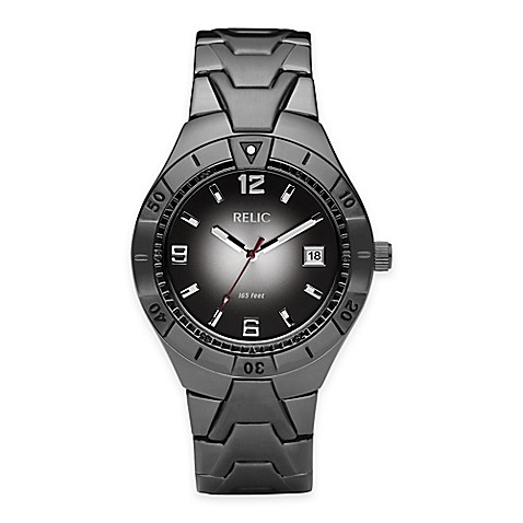 Buy relic vince men 39 s 40mm black gradient dial watch in gunmetal stainless steel from bed bath for Gradient dial watch