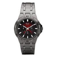 Relic® Garrett Men's 42mm Red Dial Multifunction Watch in Gunmetal Stainless Steel