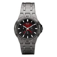 Relic® Garrett Men's 42mm Red Dial Multifunction Watch in Gunmetal Stainless Steel