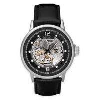 Relic® Skeleton Men's 44mm Automatic Watch in Stainless Steel with Black Leather Band
