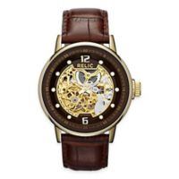 Relic® Skeleton Men's 43.5mm Automatic Watch in Goldtone Stainless Steel with Brown Leather Band