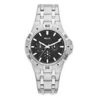 Relic® Garrett Men's 41.5mm Black Dial Multifunction Watch in Silvertone Stainless Steel