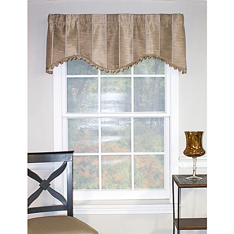 Rl Fisher Stripe Cornice Window Valance In Taupe Bed