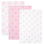 BabyVision® Hudson Baby® 3-Pack Muslin Swaddle Blankets in Pink Damask