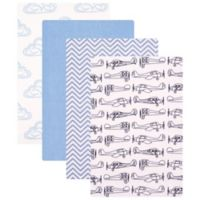 BabyVision® Hudson Baby® 4-Pack Flannel Receiving Blankets in Airplane/Blue