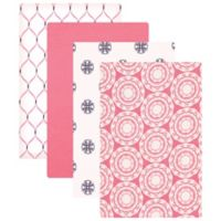 BabyVision® Hudson Baby® 4-Pack Flannel Receiving Blankets in Medallion/Pink