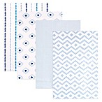BabyVision® Hudson Baby® 4-Pack Flannel Receiving Blankets in Modern/Blue