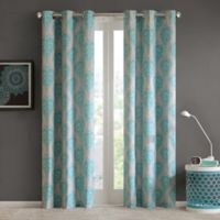 Intelligent Design Senna 63-Inch Grommet Top Window Curtain Panel Pair in Aqua