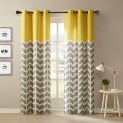 Intelligent Design Alex 84 Inch Grommet Top Window Curtain Panel Pair In Yellow
