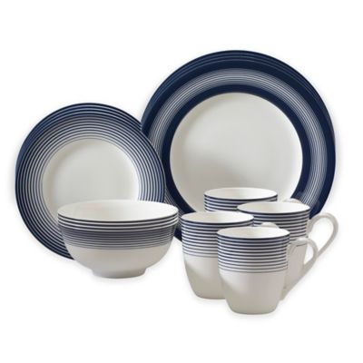 auratic licorice 16piece dinnerware set in whiteblue - White Dinnerware Sets