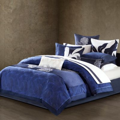 Natori Origami Mum Reversible Queen Duvet Cover In Indigo