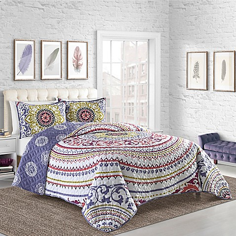 Cleo Reversible Quilt Set In White Bed Bath Beyond
