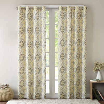 Intelligent Design Seville 63 Inch Grommet Top Window Curtain Panel in  Yellow. Buy Yellow Cotton Curtain Panels from Bed Bath   Beyond