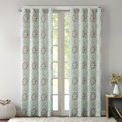 Intelligent Design Seville 63 Inch Grommet Top Window Curtain Panel In Aqua