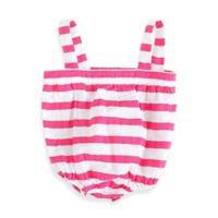 aden + anais® Size 6-9M Blazer Stripe Muslin Romper in Shocking Pink/White