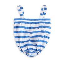 aden + anais® Size 6-9M Blazer Stripe Muslin Romper in Ultramarine/White