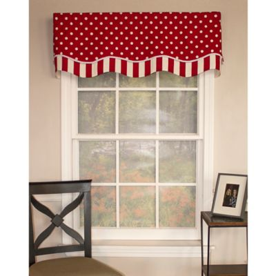 RL Fisher Dotty Glory Window Valance In Red