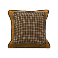 HiEnd Accents Ocala Plaid, Corduroy & Denim Square Throw Pillow in Brown
