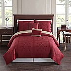 Baroque Tile Reversible Full/Queen Quilt Set in Red