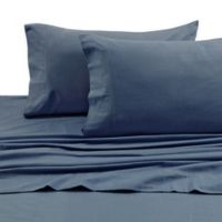 Tribeca Living 170 GSM Solid Flannel Deep Pocket King Sheet Set in Midnight Blue