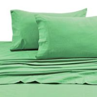 Tribeca Living 170 GSM Solid Flannel Deep Pocket Twin Sheet Set in Green