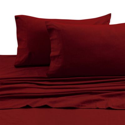Charming Tribeca Living 170 GSM Solid Flannel Deep Pocket Twin Sheet Set In Deep Red