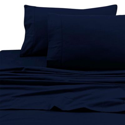 Tribeca Living 200 Gsm Solid Flannel Deep Pocket Twin Sheet Set In Midnight Blue