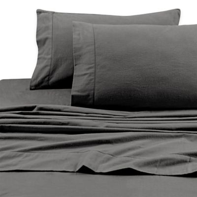 Tribeca Living 200 GSM Solid Flannel Deep Pocket Twin Sheet Set In Grey