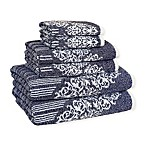 Linum Home Textiles Gioia Cotton Bath Towels in Ocean Blue (Set of 6)