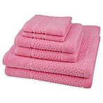 Mei-tal Turkish Cotton Jacquard Bath Towels in Pink (Set of 6)