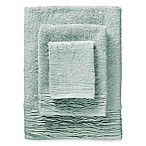 3-Piece Pleated Turkish Cotton Bath Towel Set in Green