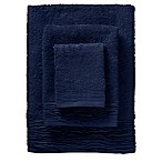 3-Piece Pleated Turkish Cotton Bath Towel Set in Blue