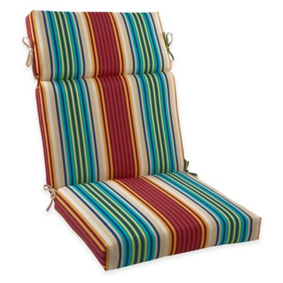 Elegant High Back Chair Cushion In Modern Stripe