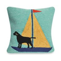 Liora Manne Frontporch Sailing Dog Square Throw Pillow in Yellow