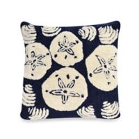 Liora Manne Frontporch Shell Toss Square Throw Pillow in Navy