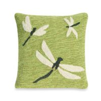 Liora Manne Frontporch Dragonfly Square Throw Pillow in Green