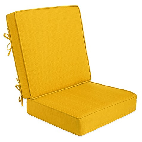 2 piece outdoor deep seat cushions in yellow bed bath beyond. Black Bedroom Furniture Sets. Home Design Ideas