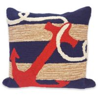 Liora Manne Frontporch Anchor Square Throw Pillow in Navy