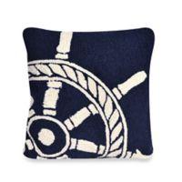 Liora Manne Frontporch Ship Wheel Square Throw Pillow in Navy