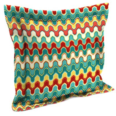 ikat square outdoor throw pillow in bluegreen